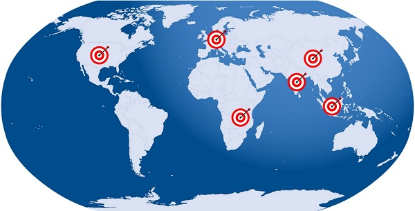 target markets world map