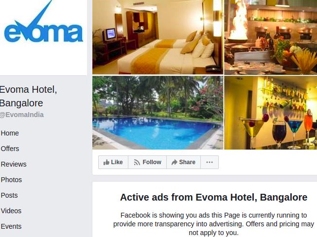 evoma bangalore hotel facebook ad